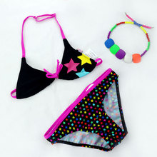 2 Pieces Set Black Swimsuit Girls Bikini Kids New Models Swimwear Quick Drying Polyester Halter-neck Bikini Top & Briefs Bottom