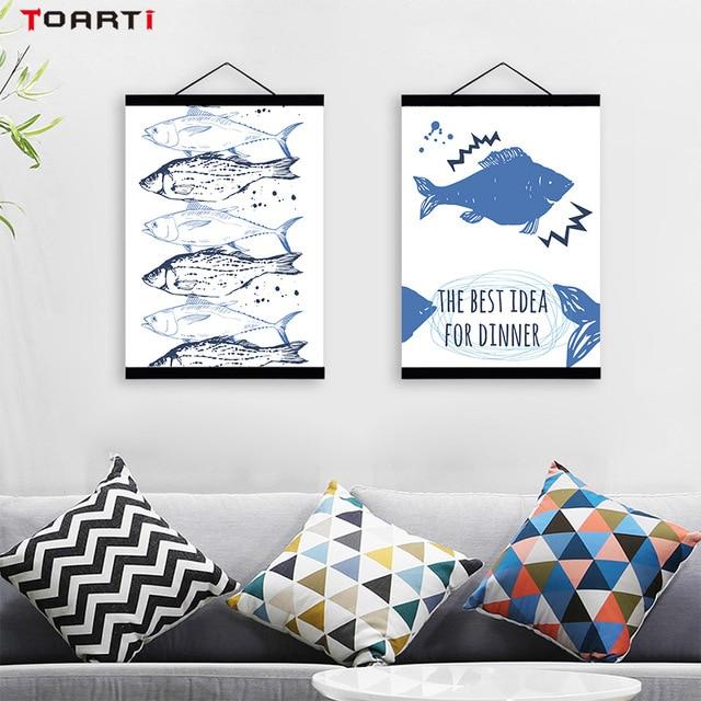 Nordic Style Meeresfrüchte Wandkunst Leinwand Malerei Poster Und Druck  Squid Fische Wandbilder Für Wohnzimmer Kinderzimmer Home
