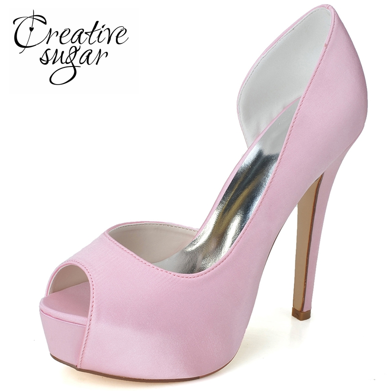 Creativesugar Woman high heel shoes pink platform D'orsay satin dress shoes peep toe white pumps wedding party prom homecoming