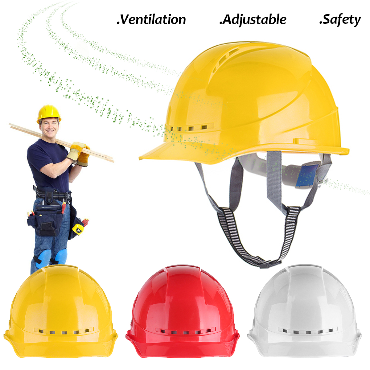 ABS Safety Helmets Hard Hats Contruction Protector Wide Brim Hat Work Cap Material Protective Helmet Breathable Engineering wide brim straw hat