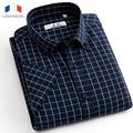 Langmeng 2016 Summer 100% Cotton plaid Casual shirts Mens Dress Shirt men Short Sleeve Male Thin Strip social Camisa Musculia