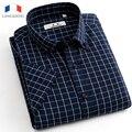 Langmeng 2016 Verano 100% Algodón a cuadros camisas Casuales Para Hombre Camisa de Vestir de los hombres de Manga Corta Masculina Delgada Franja Camisa social Musculia