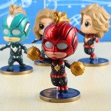 4 Pcs/set 11cm Marvel Avengers Captain Dolls Cute Version Model Shaking Head Lighting Ornaments Action Figure Toys