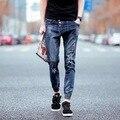 HOT 2017 Moda menino Cowboy Calças Feixe de Estudantes do Sexo Masculino Pé calças Macacão Jeans Jeans Rasgados Homens biker homme Homens Livres navio