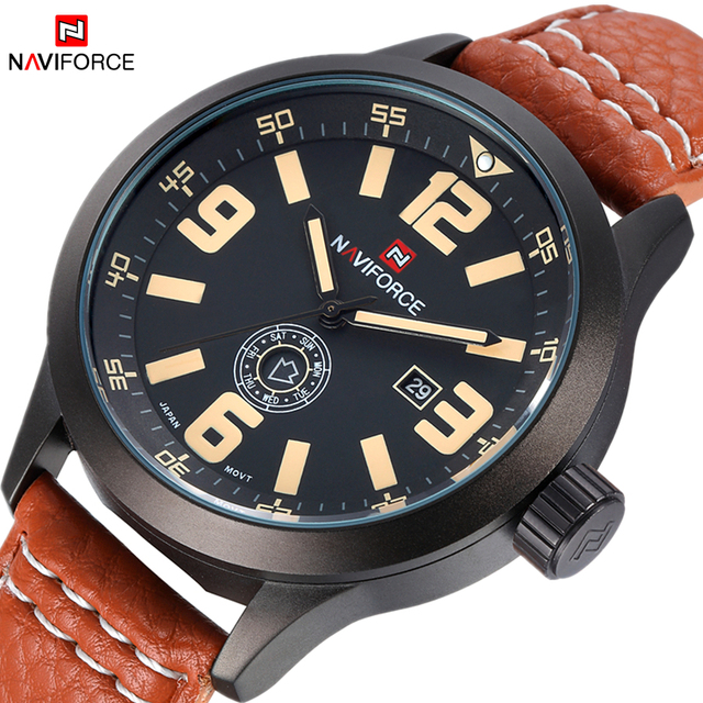 Часы мужчины NAVIFORCE марка Кварцевые часы Кожа Мода Повседневная reloj hombre Армия Военная Спорт наручные часы relogio masculino