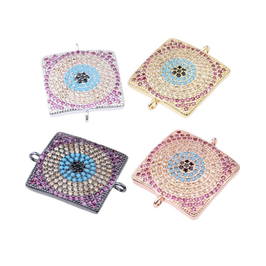 купить NEW DIY Earrings Bracelets Material Accessories Paved Zircon Turkish Greek Eye Metal Charm Connectors Jewelry Findings по цене 1792.41 рублей