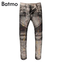Batmo 2018 new arrival spring high quality fashion casual slim Pleated jeans men,men's casual jeans ,plus size 28 42 980