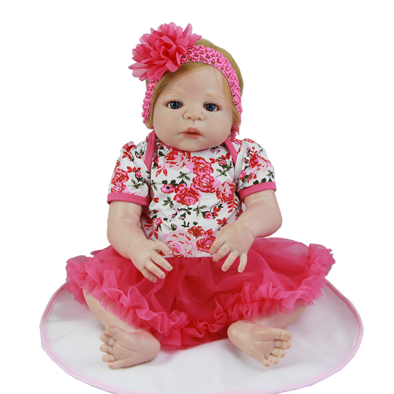 Full Silicone Vinyl Reborn Girl Baby Dolls 23 Inch Lifelike Newborn Girl Princess Doll With Rooted Human Hair Kids Birthday Gift new arrival 23 inch lifelike reborn girl baby doll full silicone vinyl realistic princess dolls kids birthday christmas gift