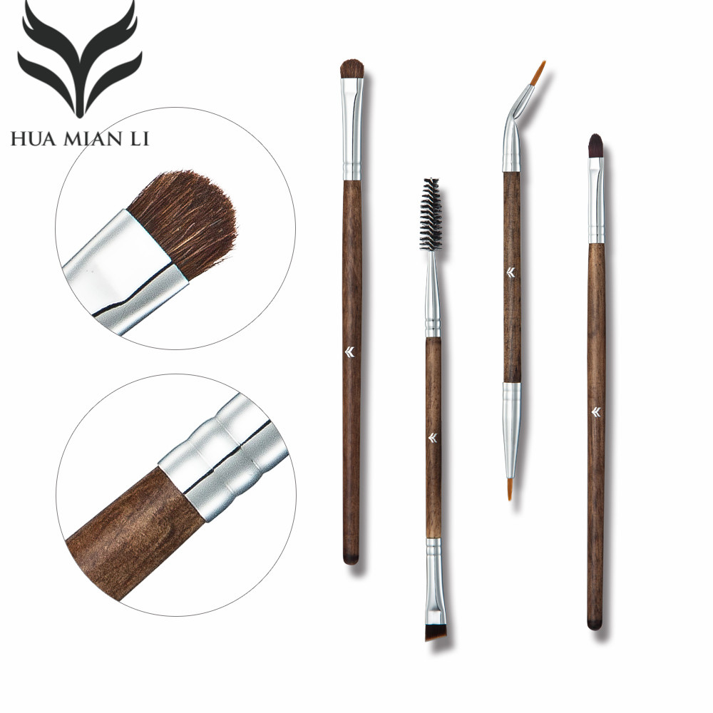 4Pcs/Sets Eye Shadow Foundation Eyebrow Lip Brush Makeup Brushes Honey Powder Brushes Eyelash brush Tool cosmetic miss gorgeous makeup brushes set powder foundation steel eyelashes comb combination brush eye shadow eyelash eyeliner eyebrow