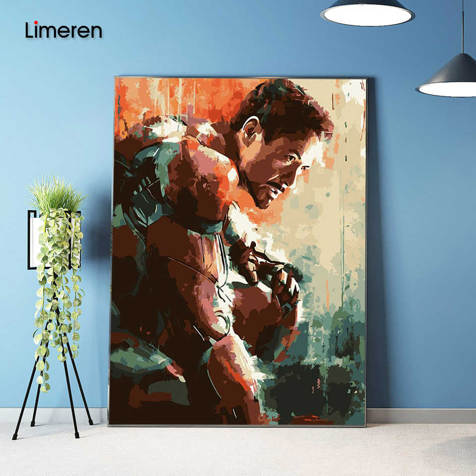 Unframed Picture On Wall Acrylic Coloring By Numbers DIY Painting By Numbers Unique Gift Oil Painting The Avengers iron man