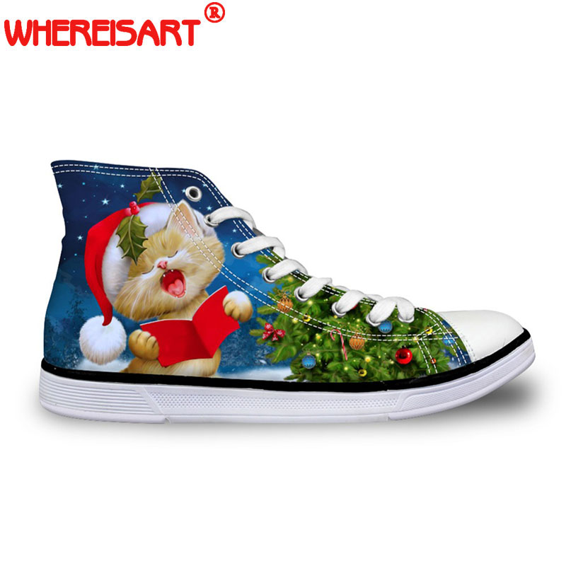 WHEREISART Merry Christmas Party 2018 Women's Sneakers Classic High Top Women Flats Vulcanize Shoes for Female Girls Xas Gifts
