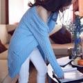 Женщины кардиган свитер весна 2017 новый средней длины свободные тонкие случайные свитер женский трикотаж верхняя одежда синий серый розовый