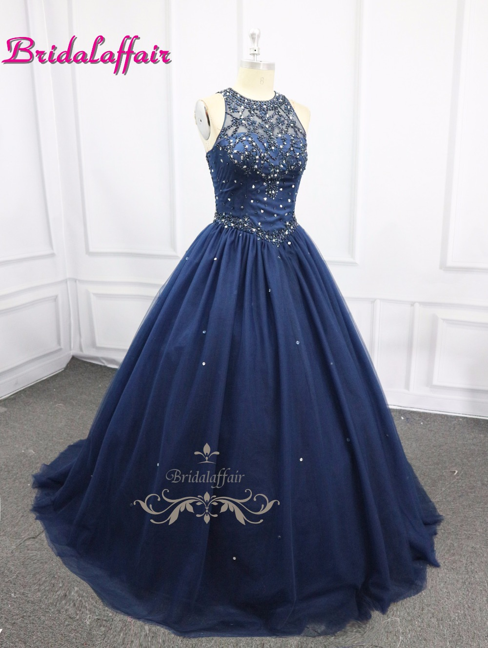 New Dark BlueTwo Piece Short Sleeve Jacket Wedding Dresses 2018 Plus Size Vestido de noiva Robe De Mariage in Wedding Dresses from Weddings Events