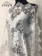 2017 Latest african swiss lace fabrics Off white color hollow out eyelash lace material 1 piece NEW!!!