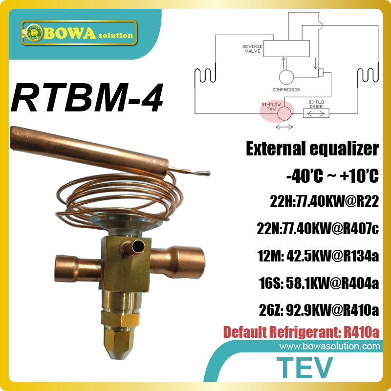 RTBM-4 bi-flow thermostatic expansion valve is installed in water source / geothermal or ground source heat pump equipments 26rt cooling capacity thermostatic expansion valve is suitable for water chiller or heat pump equipments r410a txv avaliable