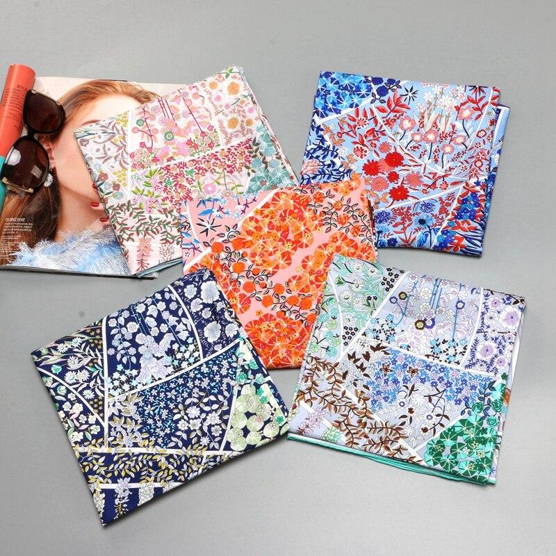 Floral Print 100% Silk Twill Scarf Large Square Silk Scarf Hijab Shawl Foulard Head Scarves Women Gifts 88x88cm