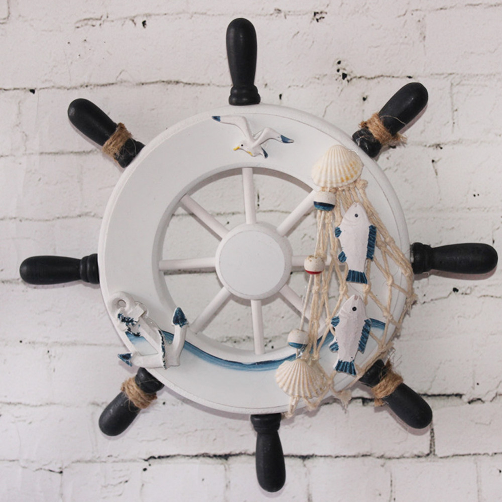 Aliexpress Beach Style Wood Wall Decor Nautical Steering Wheel Fishing Net Home Decoration Boat Ship Rudder Craft From Reliable