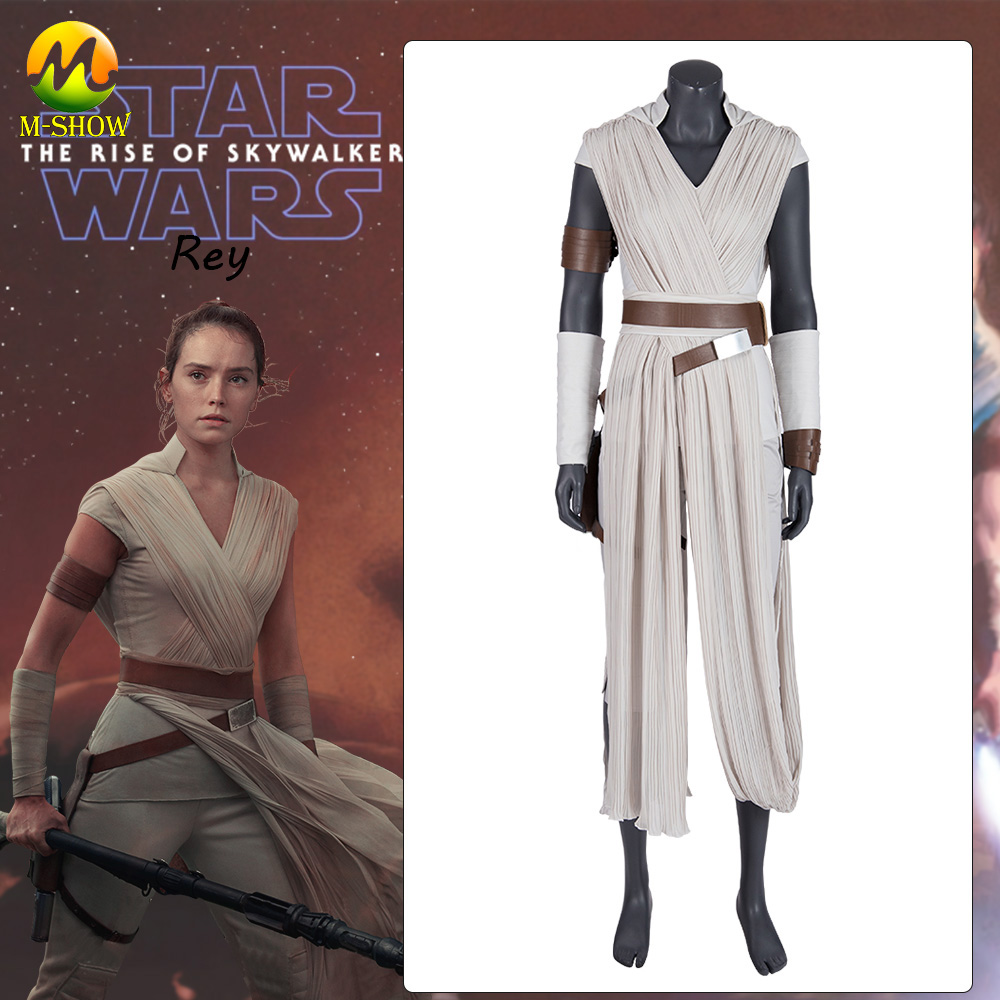 Movie Star Wars 9 The Rise of Skywalker Rey Cosplay Costume Rey Full Set Outfit Halloween Costume For Women Custom Made