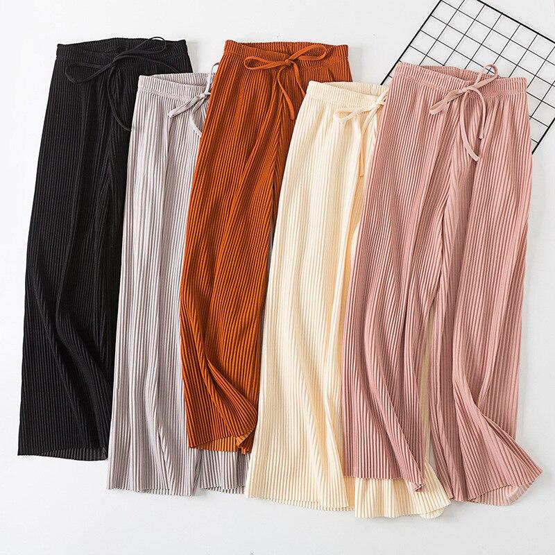 2018 nouveau pantalon femmes fille solide couleur plissée large jambe femme été taille haute en mousseline de soie longs étudiants mode coréenne pantalons décontractés