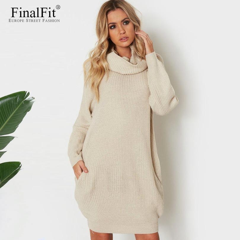 FinalFit Wool Turtleneck Autumn Dress Women Long Sleeve Loose Pocket Dress Knitted Casual Dress