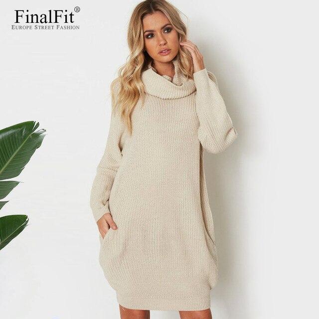 Suéter vestido cuello alto bolsillo suelto Oversize Casual Vestido ...