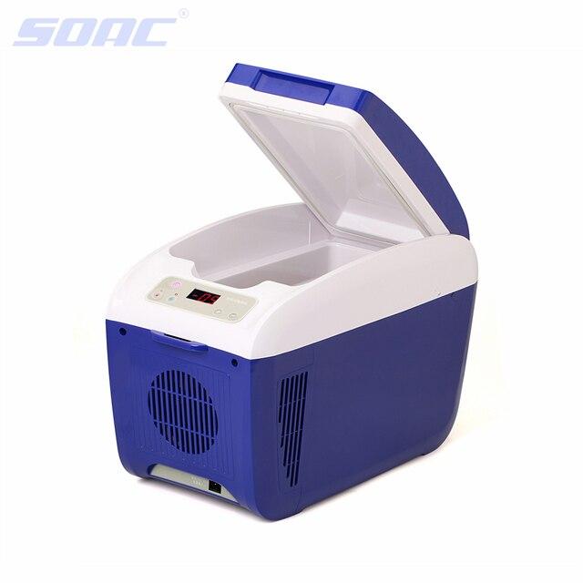8L Mini Fridge Cooler Car Fridge Beverage Drink Cans Cooler Warmer Refrigerator for 12V Cigarette Lighter Plug and Play Blue