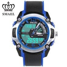 De doble Pantalla Azul Niños Relojes Electrónicos Impermeable Hombres Reloj de Cuarzo de Alta Calidad LED Luz Uhren Reloj de Los Cabritos 1343