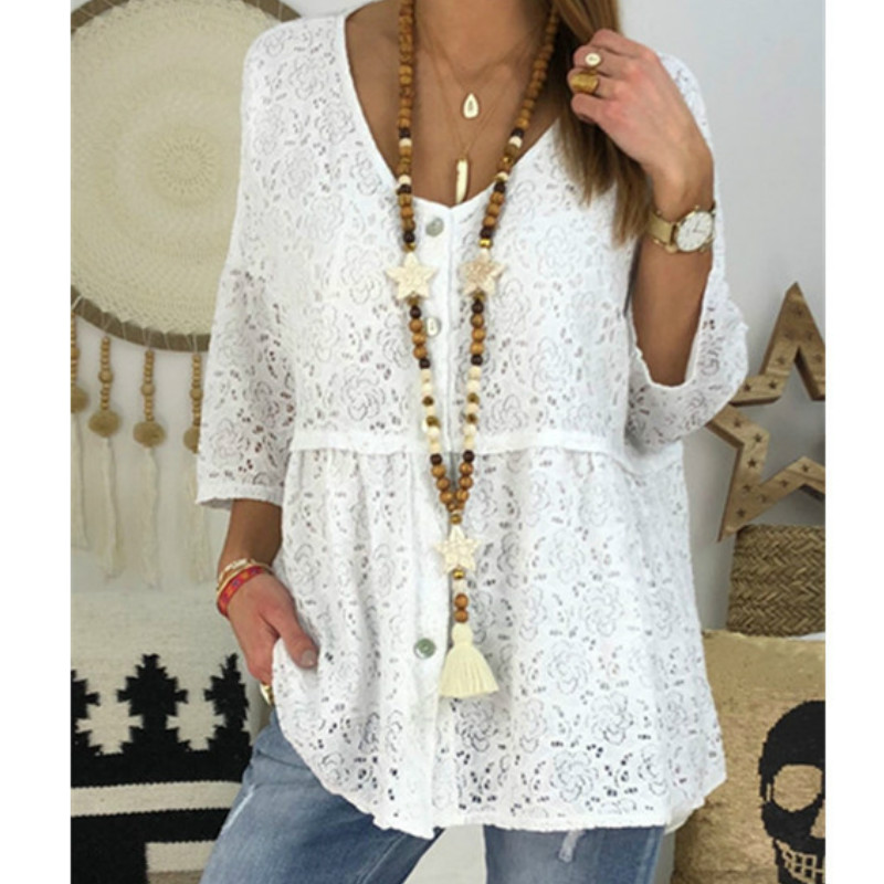 5XL Plus Size White Black Lace Blouse Shirt Sexy Transparent Shirts Women Casual Blouses Tunic Beach Party Loose Tops Blusas