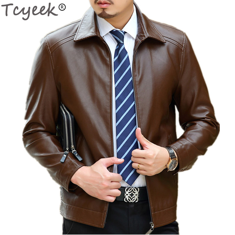 Tcyeek Spring Leather Jacket Men Black Brown Solid Mens Faux Casaco Loose Fit Middle Aged Business Jaqueta Couro Masculina HH026