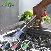 3 Colori LED Nichel Spazzolato Kitchen Sink Faucet Sostituzione Accessori Spruzzatore Testa
