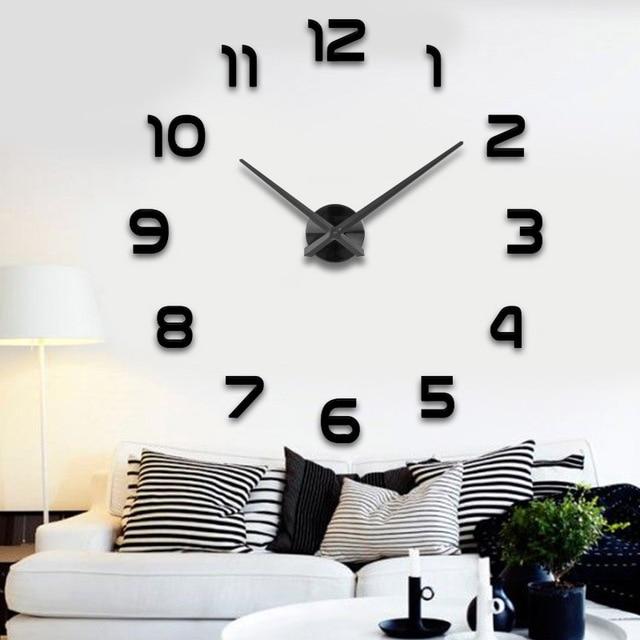 Silber Nadel Und Uhr Zifferblatt Spiegel Aufkleber DIY Wanduhren Hause  Dekoration Wanduhr Meetting Wohnzimmer Wanduhr