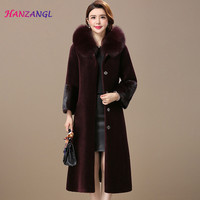 HANZANGL Women's Fur Coats Faux Fur Coat 2018 New Winter Sheep Sheared Coat Fur Hooded Female Warm Jacket Outwear Mink Fur