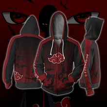Uzumaki Naruto Cosplay Akatsuki Cloak Hoodie Uchiha Itachi Anime Adult men Ms 3D Printed Zip Hooded Sweatshirt Jacket
