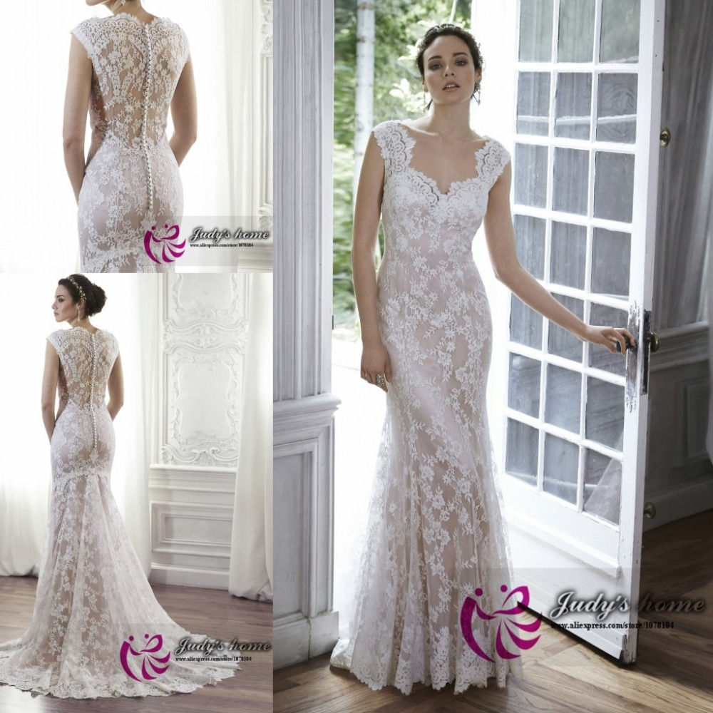 Sweetheart Wedding Dress With Cap Sleeves: Elegant Sweetheart Neck Cap Sleeve Lace Mermaid Wedding