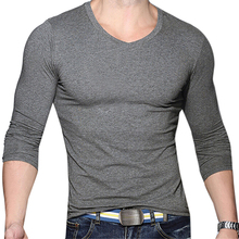 Men Casual V-Neck Long Sleeve Muscle Basic Top Tees Solid Slim Fit T-Shirt