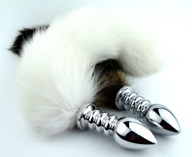 Tricyclic spiral thread fox tail anal plug arctic fox fur tail gold tail dilatador anal butt plug dilatador sex toys