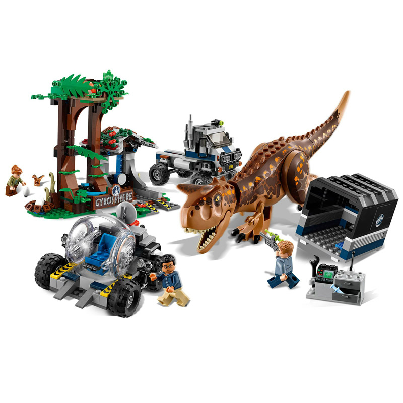 648pcs Jurassic World 2 Carnotaurus Gyrosphere Escape Model Building Blocks Legoing 75929 Dinosaur Figures Toys Children Gift