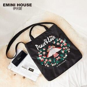 Image 2 - EMINI Bolsa de compra plegable de gran capacidad para mujer, bolso de mano bordado, cruzado, espacioso