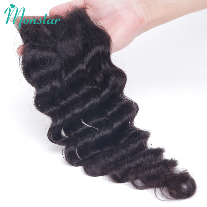 Monstar Peruvian Loose Deep Wave Closure 4*4 Swiss Lace Closure Free Middle Part 8 - 20 Inch Loose Deep Wave Virgin Hair Closure