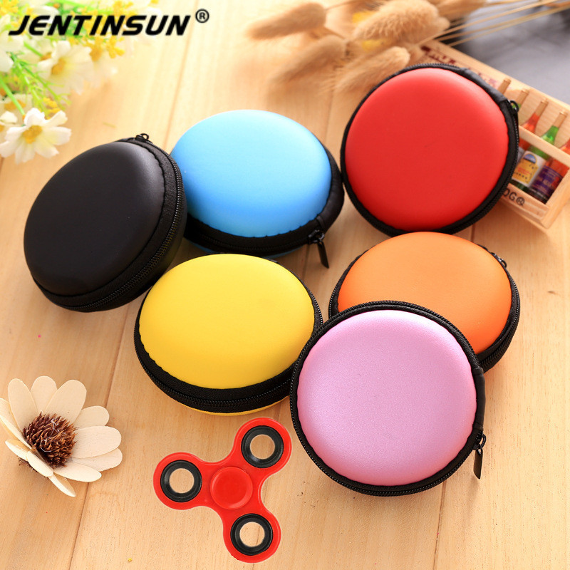 Portable Round Mini Zipper Hard Earphone Case Pouch Storage Bag For Key Headphone Charger Finger Spinner Bag Coin Purse Wallet