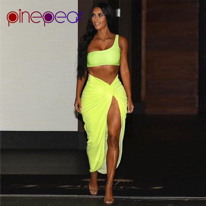 92993693ffeef Kim Kardashian Dress for Women One Shoulder Crop Top and Draped Split Skirt  Sets 2019 New Trend Celebrity Matching Outfits