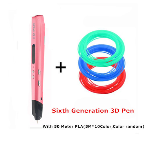 2 Colors Sixth Generation 3D Pen With Led Screen 3 D Pen sWith 50m 10 Color PLA Filament 3D Drawing Pen for Student Gift
