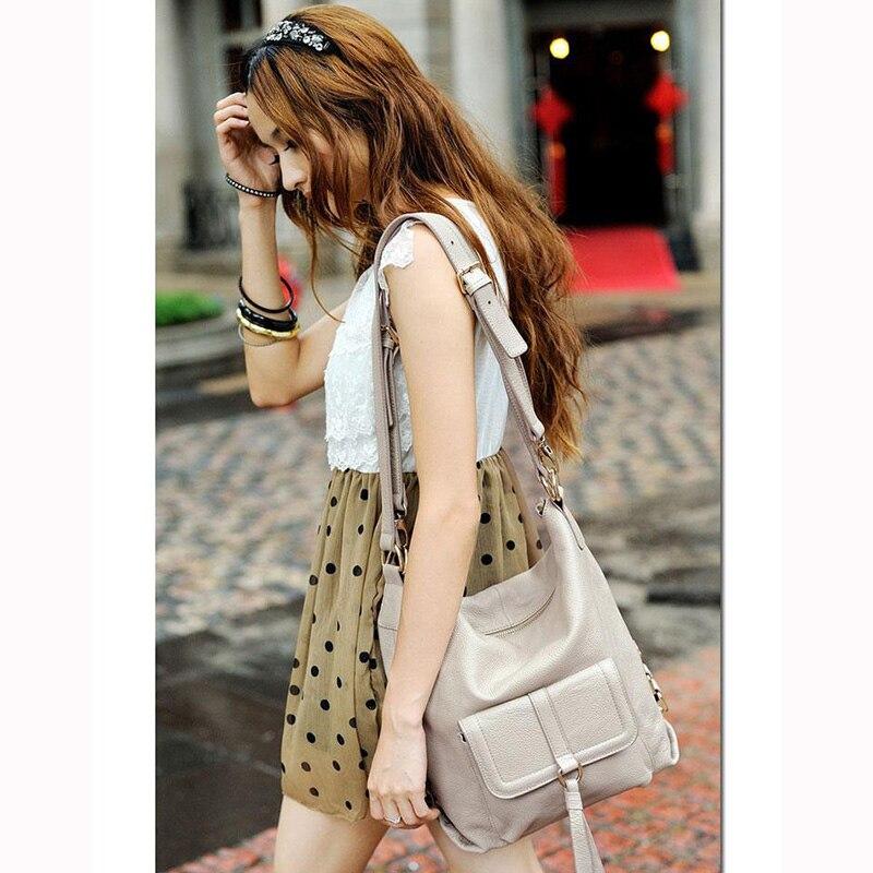 Zency Fashion Women Shoulder Bag 100% Genuine Leather Large Capacity Handbag Multifunction Use Satchel Crossbody Messenger Purse
