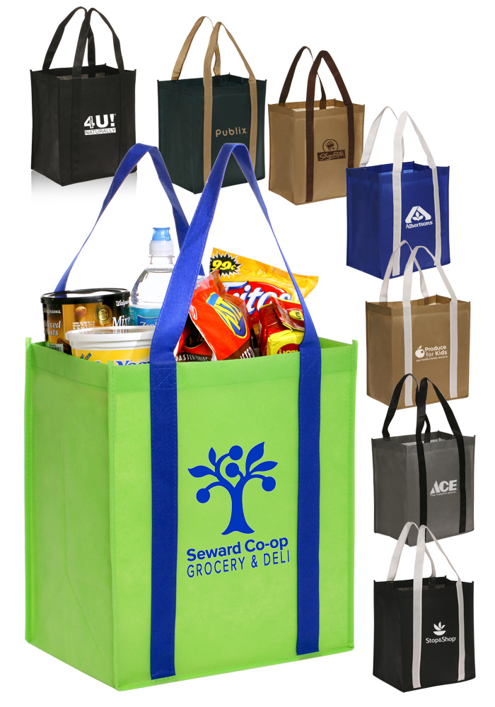 1000pcs/Lot Custom Promotional pp coated custom printed recycled eco tnt grocery non woven bags