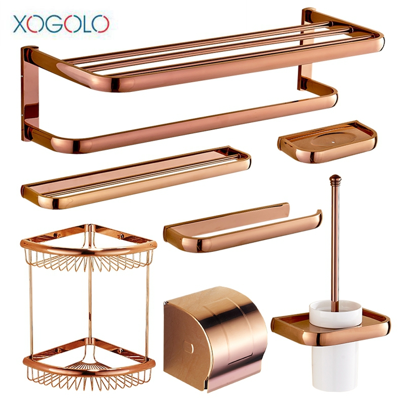 Xogolo Copper Brushed Wall Mounted Rose Gold Bath Hardware Sets Toilet Paper Holder Shelf Towel Ring Bathroom Accessories