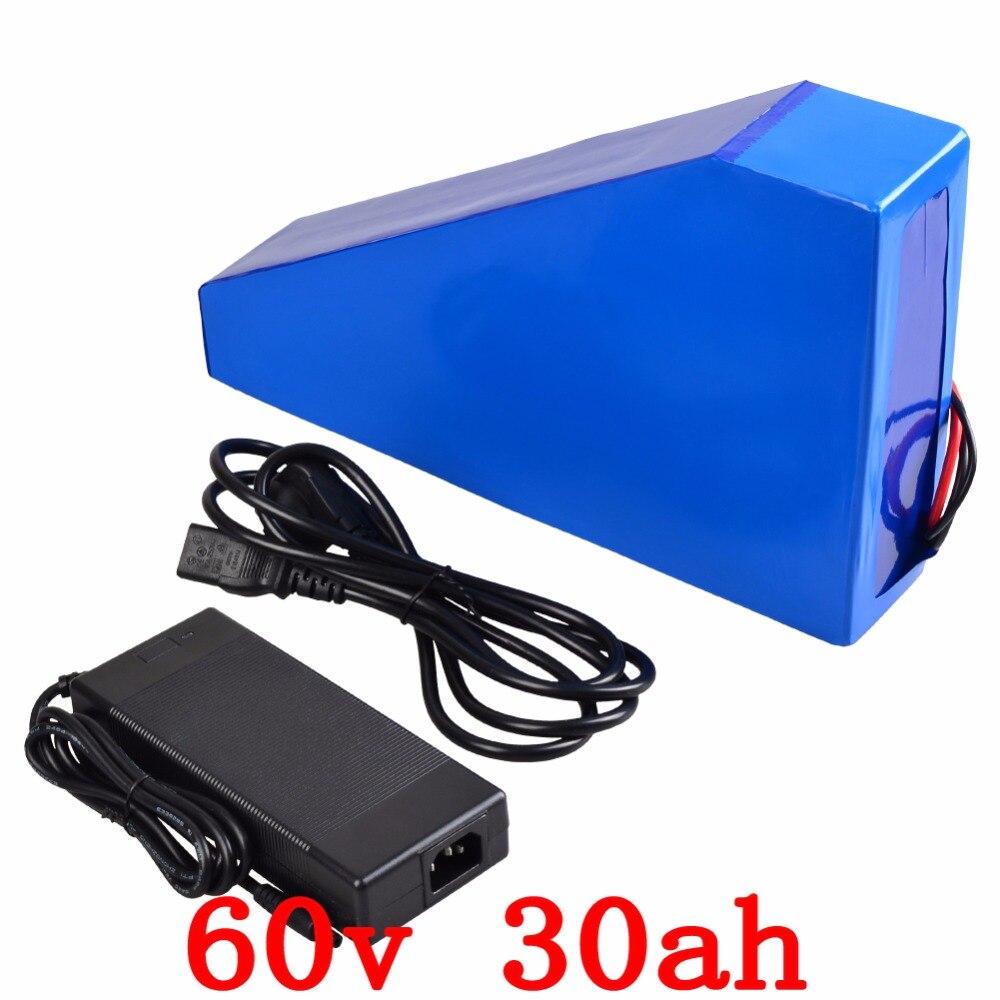 60 v 30ah triangle batterie 60 v 30ah lithium ion batterie utiliser LG cellule 60 V 2000 W vélo électrique batterie avec chargeur 67.2 V + sac gratuit