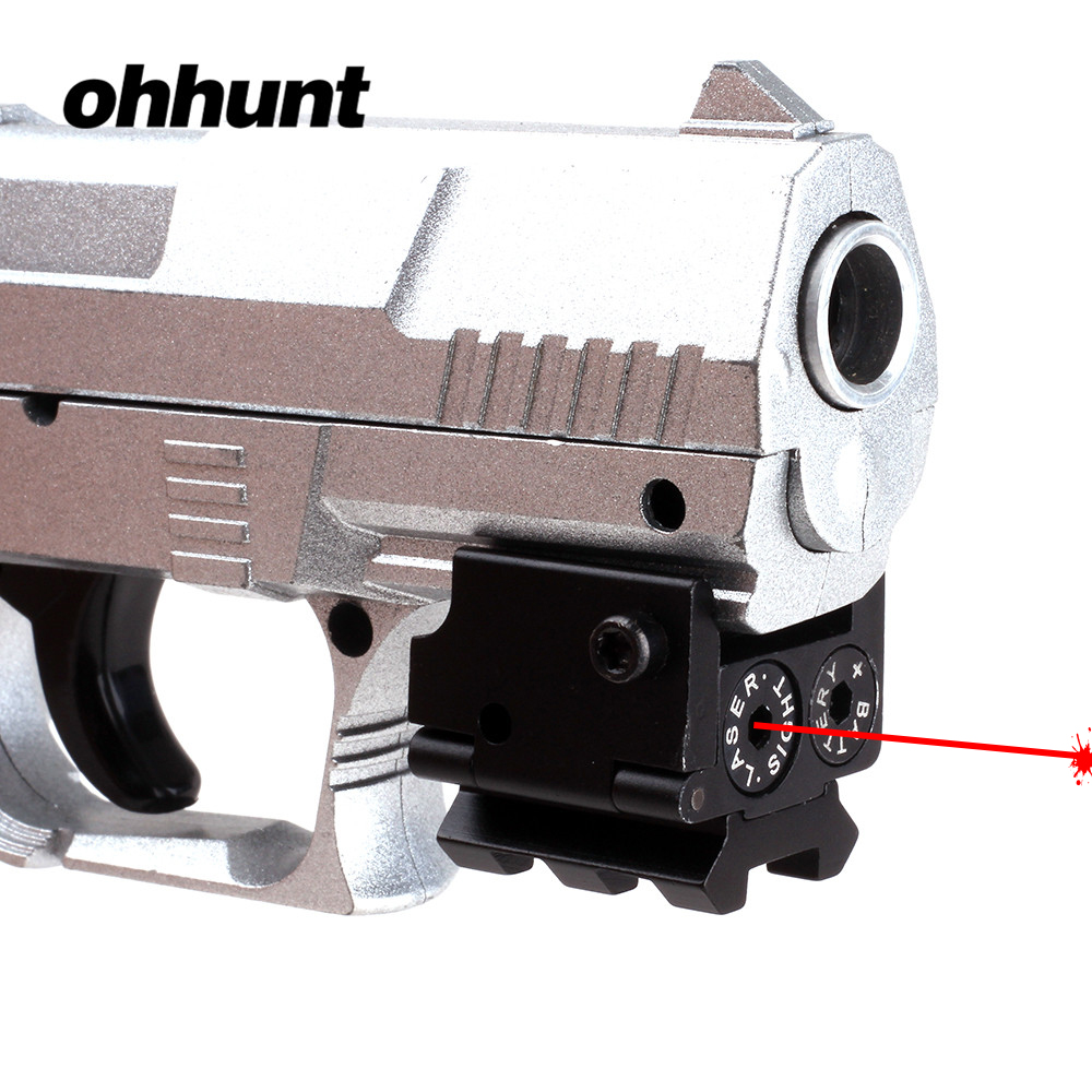 ohhunt Mini Adjustable Compact Tactical Red Dot Laser Sight Scope Fit For Pistol Gun With Rail Mount 20mm