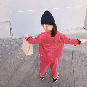 Image 4 - 2019 Spring New korean style cotton clothing sets shirt with long pants fashion corduroy suit for cute sweet baby girls