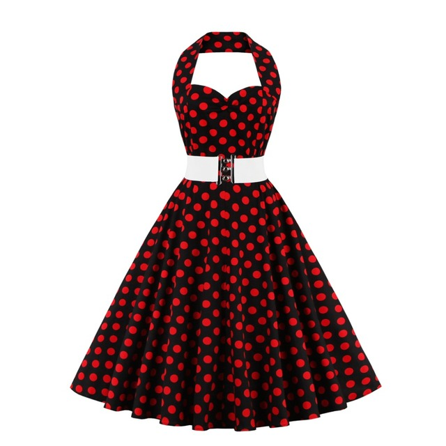 4e533564c7 Women Polka Dot Dress Big Swing Vestidos 2018 Summer Retro Robe Casual  Rockabilly Party Dress 50s 60s 70s Pin up Vintage Dresses