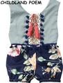 2017 лето девочка одежда кисточкой детские цветочные romper vintage цветочные печатные детские ползунки хлопок принцесса новорожденных детская одежда